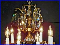 MASSIVE Antique French 6 Arm 12 Lite Pineapple Cut Lead Crystal Chandelier