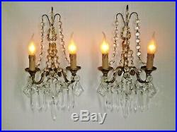 Magnificent Pair French Antique Gilded Brass Double Crystal Wall Sconces 1890