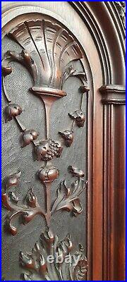 Magnificent Pair Of Large Gothic Antique French Carved Walnut Panels C1880