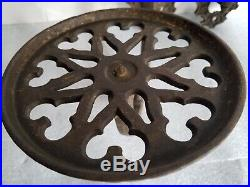 Matched pair large antique Cast Iron Oil Lamp Wall Sconce vintage Pivoting Shelf