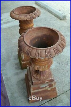 Matching Pair Antique Cast Iron Planters Urns on Bases Large Victorian Ornate