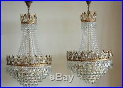 Matching Pair Antique Vintage French Crystal Chandelier Brass Ceiling Lamp 1950s