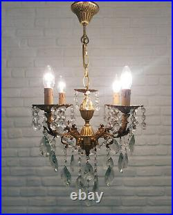 Matching Pair of Antique Vintage 4 Arms Cast Brass & Crystals Chandeliers Lamp