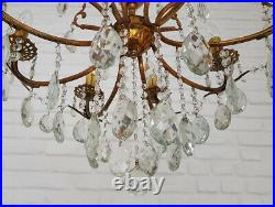 Matching Pair of Antique Vintage 8 Arms Brass & Crystals Chandelier Ceiling Lamp