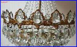 Matching Pair of Antique Vintage Brass & Crystals French HUGE Chandeliers