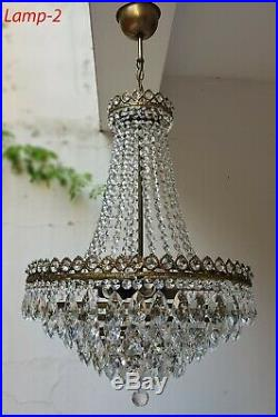Matching Pair of Antique Vintage Brass & Crystals French LARGE Chandeliers Lamp