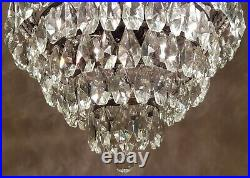 Matching Pair of Antique Vintage Brass & Crystals French LARGE Chandeliers Light