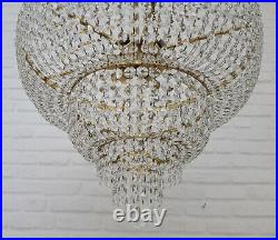 Matching Pair of Antique Vintage Brass & Crystals GIANT Empire Chandeliers Lamp