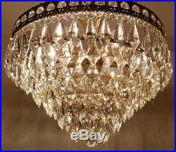 Matching Pair of Antique Vintage Brass & Crystals Low Ceiling LARGE Chandeliers