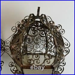 Mexican Gothic Lamp Spanish Revival Swag PAIR Metal Filigree LRG 20in