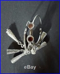 Morocco Old Large silver Berber pair of Earrings Tiznit Region
