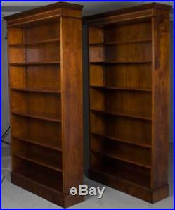 New Antique Style Pair of Mahogany Open Tall Bookcases Bookshelves Large Big FS
