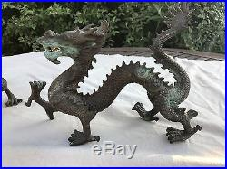 Old Pair Of Large Chinese Bronze Dragons Statue From House Clearance