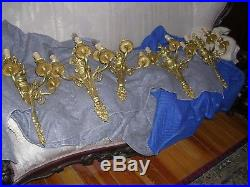 One pair of antique dore, gilted bronze three light wall sconces, large beauties