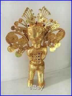 Original Large Pair Colombian Gold Copper Tairona Tumbaga Shaman And Queen