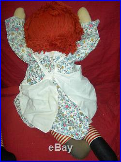 PAIR 30 large, Knickerbocker labeled Raggedy ANN & ANDY cloth dolls 1965-82