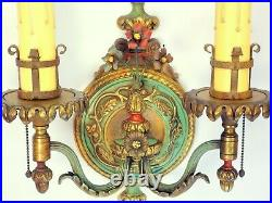 PAIR Antique 1920's Art Deco Victorian Ornate Brass Wall Light Sconces REWIRED