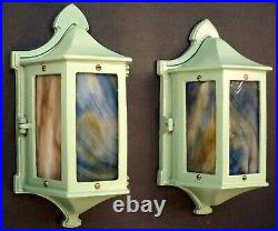 PAIR Antique Arts And Crafts Tudor Stained Glass Porch Lantern Wall Light Sconce
