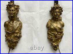 PAIR Antique Bronze Figural Wall Sconces Head Bust Lily Sconce