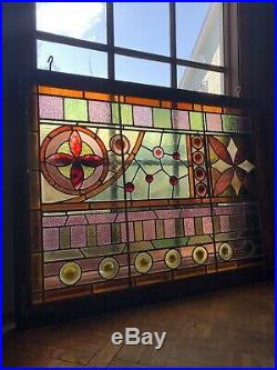 PAIR Antique Stained Glass, Kokomo Glass Large Mid 1800s Stained Glass Windows