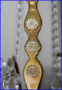 PAIR Antique Vintage French Crystal Beaded Brass Wall Sconces Maison Bagues