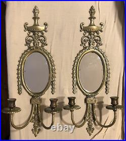 PAIR BIG Vintage Brass Mirrored Double Arm French Louis XVI Candle Wall Sconces