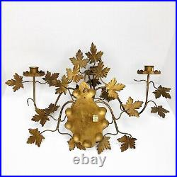 PAIR Italian Hollywood Regency Gold Tole Metal Wall Sconce Grapevine Three Arm