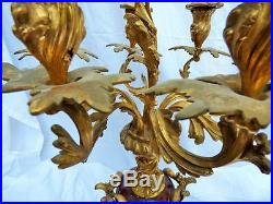 PAIR LARGE ANTIQUE SOLID BRONZE & RED MARBLE 7 BRANCH CANDELABRA 77.5cm 30 1/2