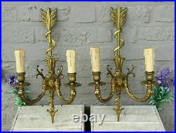 PAIR LArge french bronze Wall lights sconces empire design arrow snake