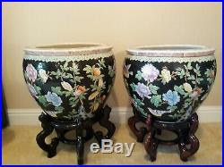PAIR Large Chinese Fish Bowl Planters with Carved Wood StandsFlowers Koi Birds