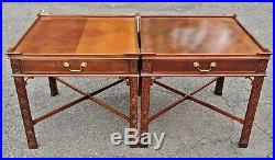 PAIR Large Vintage BAKER 20th C CHINESE CHIPPENDALE TABLES English Asian Style