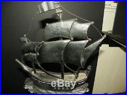 PAIR OF LARGE CAST BRONZE & IRON ANDIRONS With SHIPS & WRAP TAILED DOLPHINS (4611)