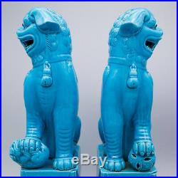 PAIR OF LARGE VINTAGE CHINESE TURQUOISE GLAZED FOO DOGS / LIONS. 10 25cm TALL