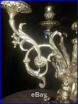 PAIR OF LOUIS XIV STYLE Large Gilt Bronze Five-Arm with centre Candle Candelabra