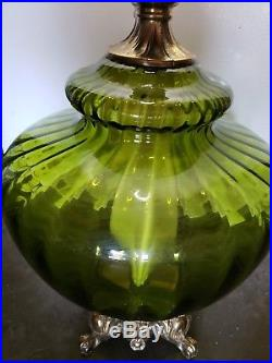 PAIR Of Very Large Mid Century/Hollywood Regency Green Glass Blown Table Lamps
