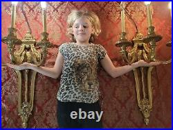 PAIR XXL heavy MASSIVE Vintage Empire French gilded SCONCES 3 ARMS TWO bronze