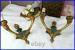 PAIR large FRench Empire Satyr heads green brass bronze sonces wall lights 1920