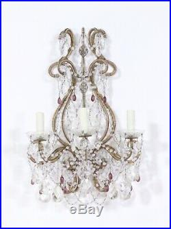 PAIR of Antique Vintage Large Italian Crystal Beaded Sconces