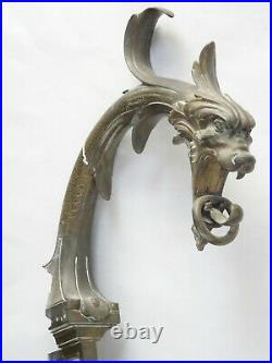 PAIR of LARGE ANTIQUE 19c. GOTHIC BRONZE DRAGON GARGOYLE WALL FIXTURES 24 inch