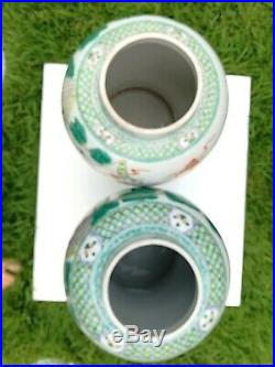 Pair Antique Chinese Large Heavy Vases Pots Handpainted, Floral, Oriental, Mark