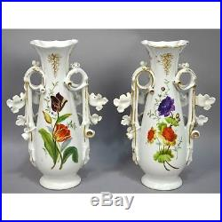 Pair Antique Large Hand Painted French Country Scene Old Vieux Paris Vases