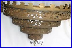 Pair Antique Vintage Brass Etched Filigree Wall Sconce Light Fixture Covers Lrg