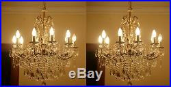 Pair Antique Vintage French 10 Arms 10 Candles Cast Brass & Crystals Chandelier