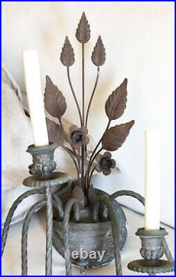 Pair Beautiful French Tole Antique Wall Sconces Gorgeous Patina