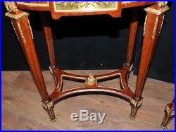 Pair French Empire Parquery Inlay Side Tables Large Table