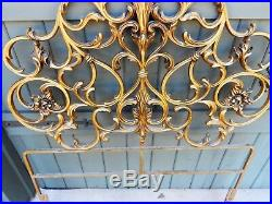 Pair Gorgeous French Iron Headboards Large & Fancy Gold Gilt Hollywood Regency