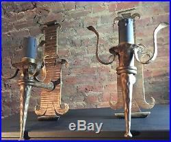 Pair Large (42cm) France Vintage Wrought Iron Gothic Wall Sconces / Wall Lights