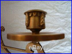 Pair Large Antique Brass Twin Branch Candlestick Holder Wall Sconce Piano Candle