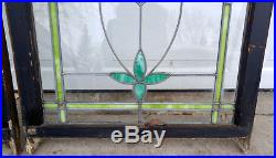 Pair Large Antique Chicago Victorian 28x36 Leaded Stained Glass Rose Windows