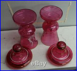 Pair Large Antique Cranberry Glass Covered Urns Mary Gregory Enamel Decoration